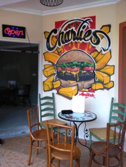 Charlie's Burger Mural Art. Brunei Restaurant.